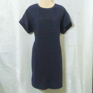 J Crew Horizontal Pleated Navy Blue Career Dress *